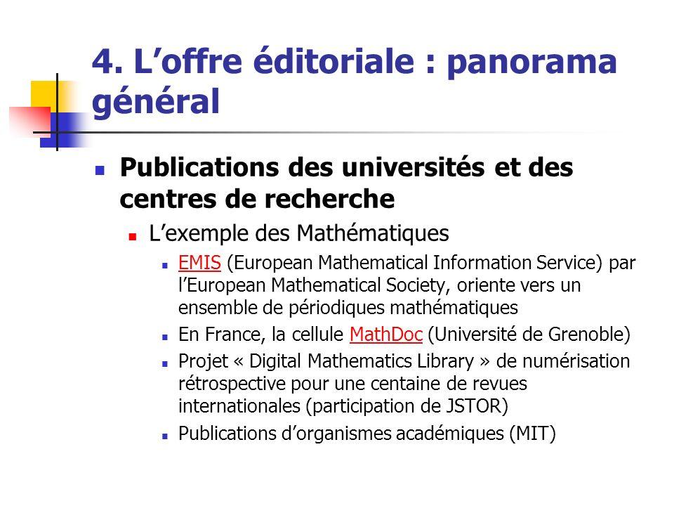 4. Loffre éditoriale : panorama général Publications des universités et des centres de recherche Lexemple des Mathématiques EMIS (European Mathematica