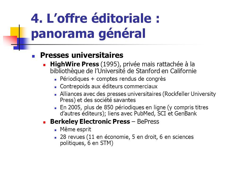 4. Loffre éditoriale : panorama général Presses universitaires HighWire Press (1995), privée mais rattachée à la bibliothèque de lUniversité de Stanfo