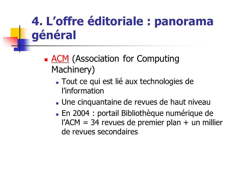 4. Loffre éditoriale : panorama général ACM (Association for Computing Machinery) ACM Tout ce qui est lié aux technologies de linformation Une cinquan