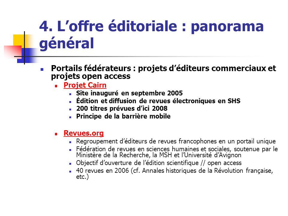 4. Loffre éditoriale : panorama général Portails fédérateurs : projets déditeurs commerciaux et projets open access Projet Cairn Site inauguré en sept