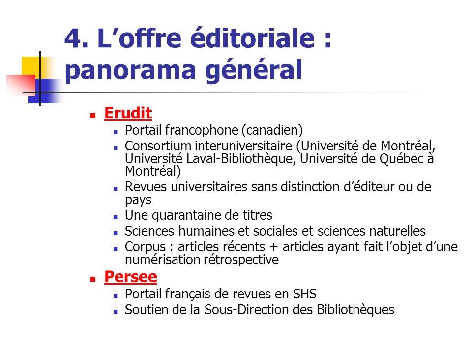 4. Loffre éditoriale : panorama général Erudit Portail francophone (canadien) Consortium interuniversitaire (Université de Montréal, Université Laval-