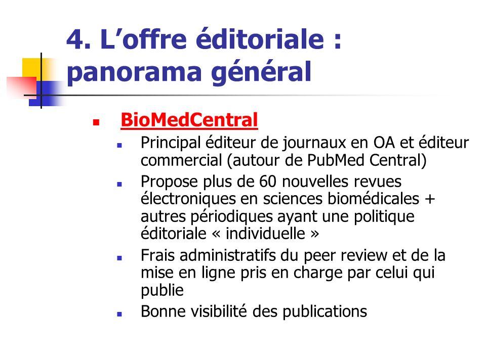 4. Loffre éditoriale : panorama général BioMedCentral Principal éditeur de journaux en OA et éditeur commercial (autour de PubMed Central) Propose plu