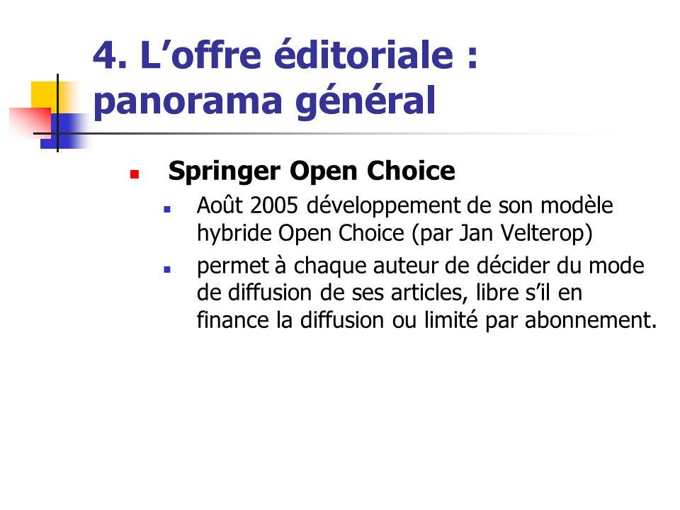 4. Loffre éditoriale : panorama général Springer Open Choice Août 2005 développement de son modèle hybride Open Choice (par Jan Velterop) permet à cha