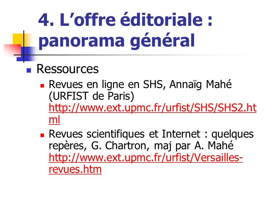 4. Loffre éditoriale : panorama général Ressources Revues en ligne en SHS, Annaïg Mahé (URFIST de Paris) http://www.ext.upmc.fr/urfist/SHS/SHS2.ht ml