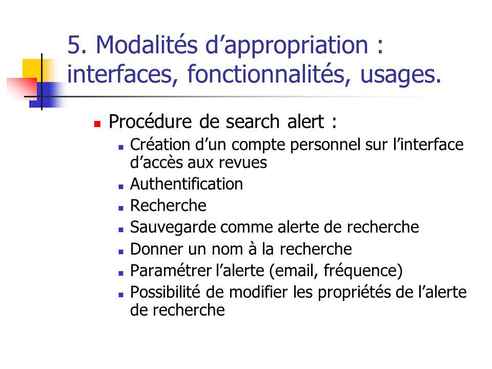 5. Modalités dappropriation : interfaces, fonctionnalités, usages. Procédure de search alert : Création dun compte personnel sur linterface daccès aux