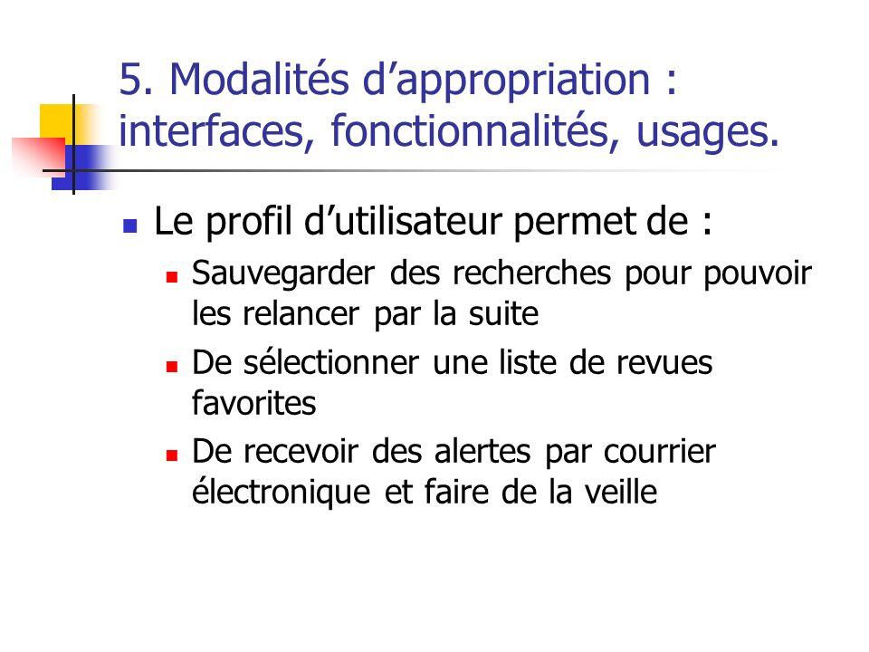 5. Modalités dappropriation : interfaces, fonctionnalités, usages. Le profil dutilisateur permet de : Sauvegarder des recherches pour pouvoir les rela