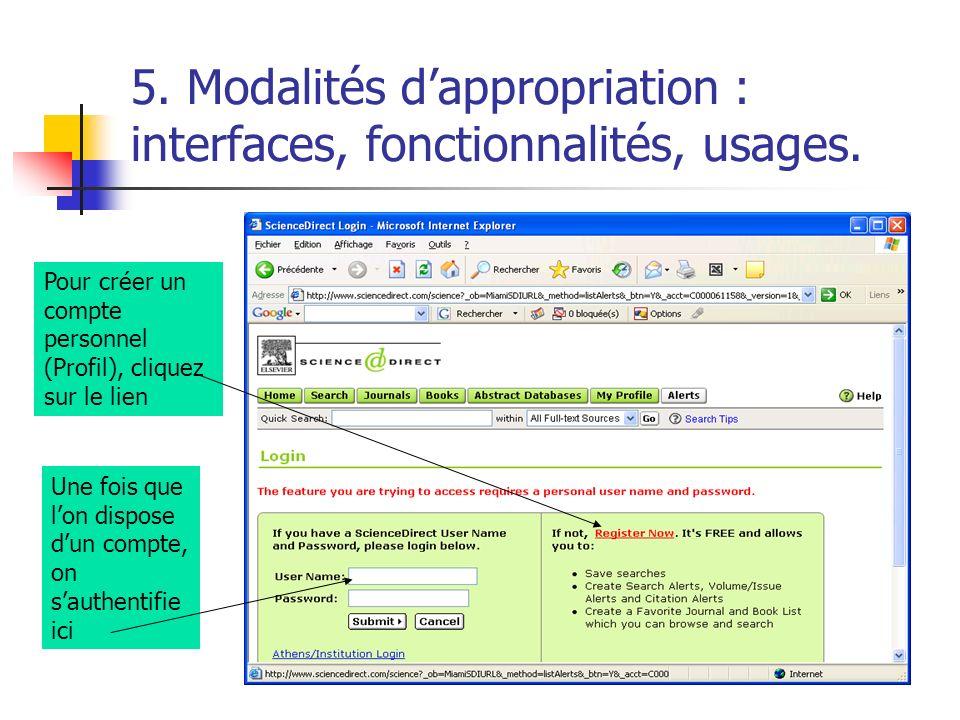 5. Modalités dappropriation : interfaces, fonctionnalités, usages. Pour créer un compte personnel (Profil), cliquez sur le lien Une fois que lon dispo