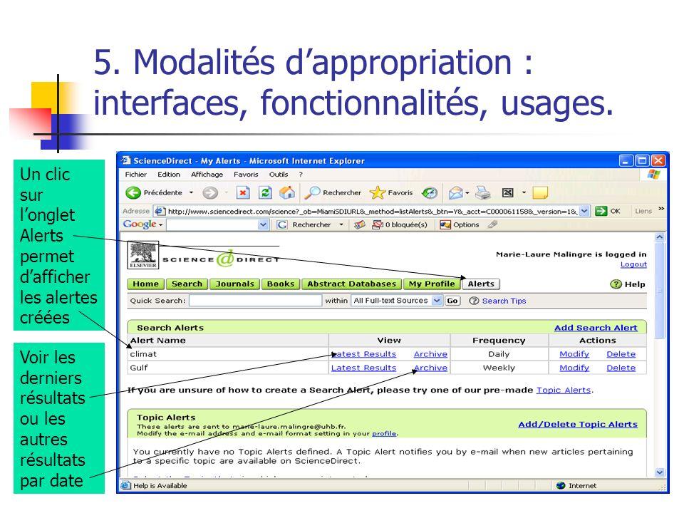 5. Modalités dappropriation : interfaces, fonctionnalités, usages. Un clic sur longlet Alerts permet dafficher les alertes créées Voir les derniers ré