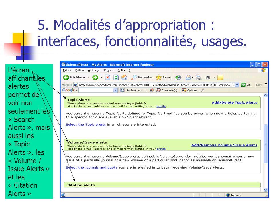 5. Modalités dappropriation : interfaces, fonctionnalités, usages. Lécran affichant les alertes permet de voir non seulement les « Search Alerts », ma