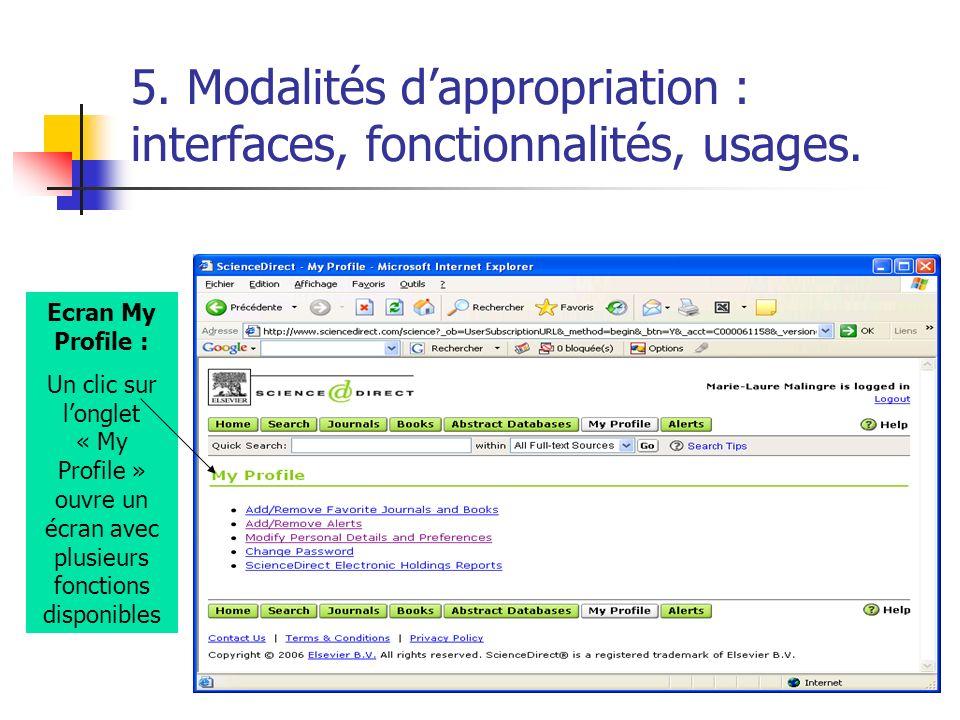 5. Modalités dappropriation : interfaces, fonctionnalités, usages. Ecran My Profile : Un clic sur longlet « My Profile » ouvre un écran avec plusieurs