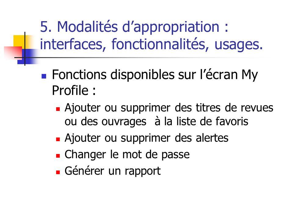 5. Modalités dappropriation : interfaces, fonctionnalités, usages. Fonctions disponibles sur lécran My Profile : Ajouter ou supprimer des titres de re