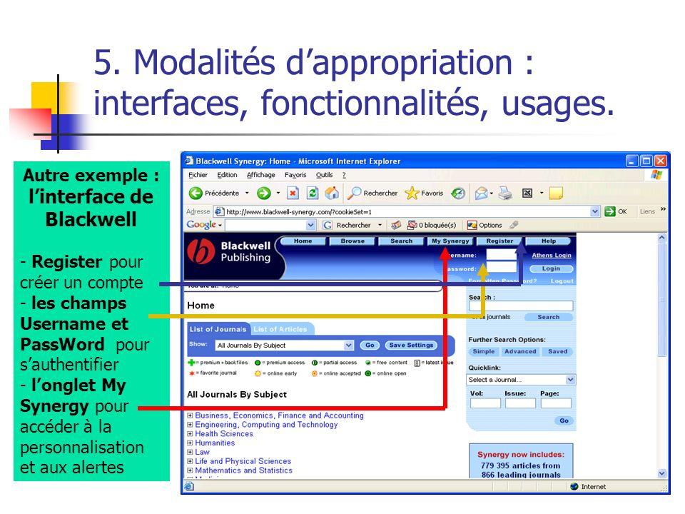 5. Modalités dappropriation : interfaces, fonctionnalités, usages. Autre exemple : linterface de Blackwell - Register pour créer un compte - les champ