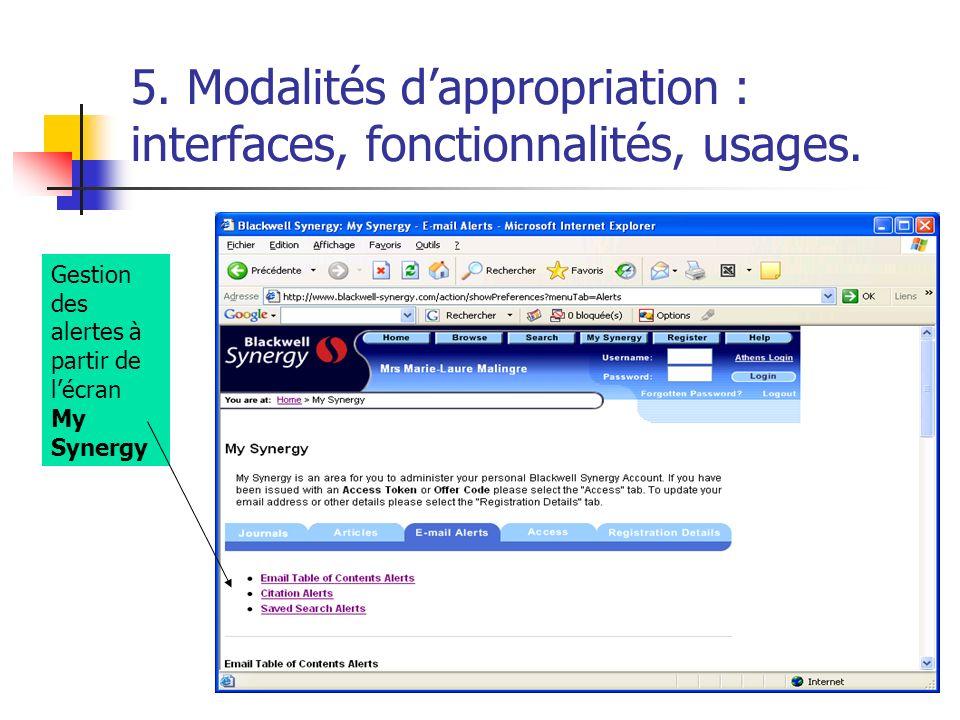 5. Modalités dappropriation : interfaces, fonctionnalités, usages. Gestion des alertes à partir de lécran My Synergy