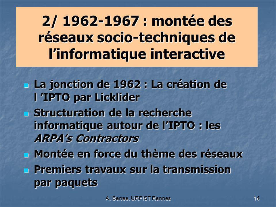 A. Serres. URFIST Rennes14 2/ 1962-1967 : montée des réseaux socio-techniques de linformatique interactive La jonction de 1962 : La création de l IPTO