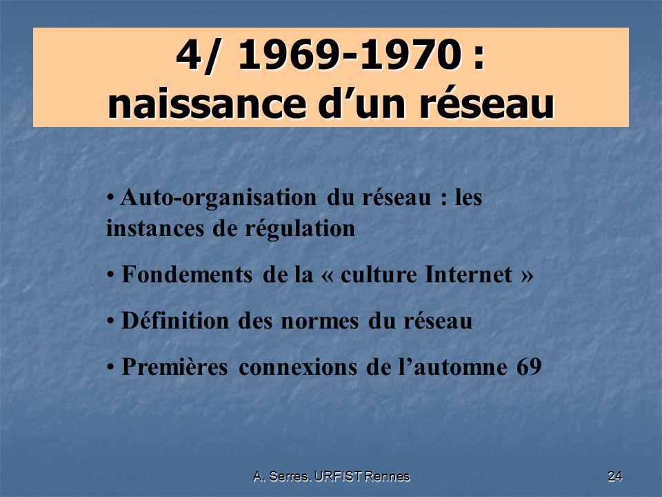 A. Serres. URFIST Rennes24 4/ 1969-1970 : naissance dun réseau Auto-organisation du réseau : les instances de régulation Fondements de la « culture In
