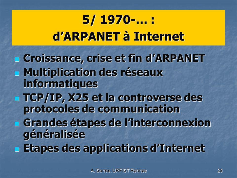 A. Serres. URFIST Rennes28 5/ 1970-… : dARPANET à Internet Croissance, crise et fin dARPANET Croissance, crise et fin dARPANET Multiplication des rése