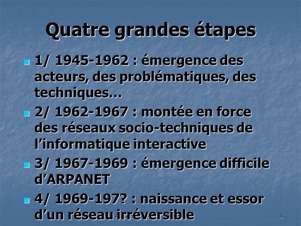 A. Serres. URFIST Rennes4 Quatre grandes étapes 1/ 1945-1962 : émergence des acteurs, des problématiques, des techniques… 1/ 1945-1962 : émergence des
