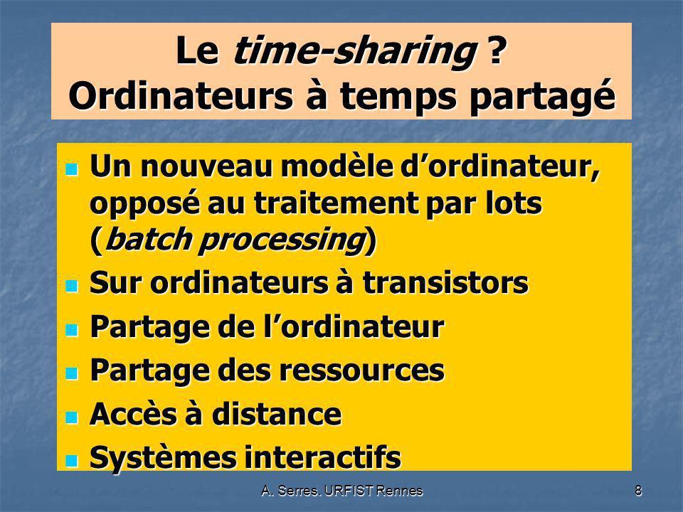 A. Serres. URFIST Rennes8 Le time-sharing ? Ordinateurs à temps partagé Un nouveau modèle dordinateur, opposé au traitement par lots (batch processing