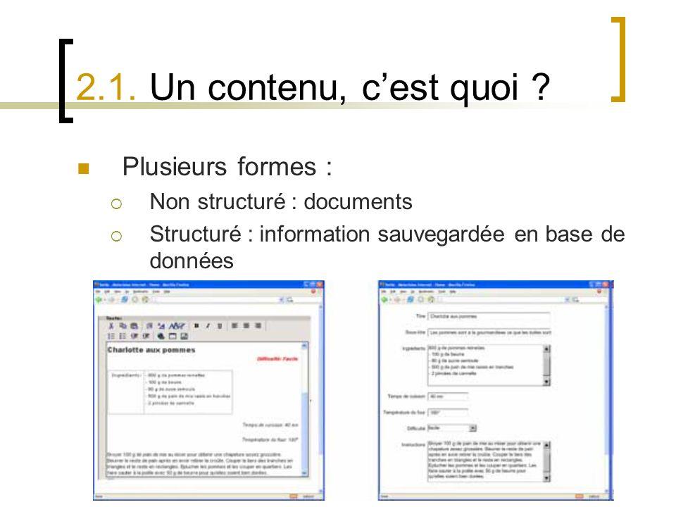6 Nov. 2008 – Blaise de Carné-Carnavalet 2.1. Un contenu, cest quoi ? Plusieurs formes : Non structuré : documents Structuré : information sauvegardée