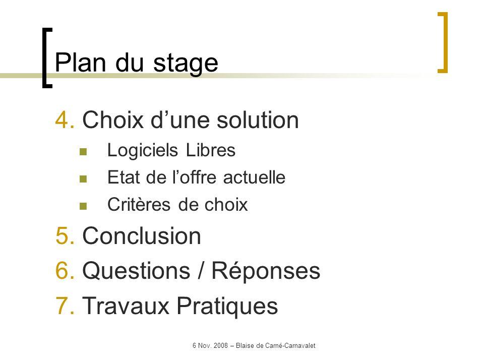 6 Nov. 2008 – Blaise de Carné-Carnavalet 4. Choix dune solution Logiciels Libres Etat de loffre actuelle Critères de choix 5. Conclusion 6. Questions