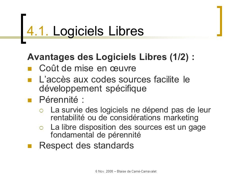 6 Nov. 2008 – Blaise de Carné-Carnavalet Avantages des Logiciels Libres (1/2) : Coût de mise en œuvre Laccès aux codes sources facilite le développeme