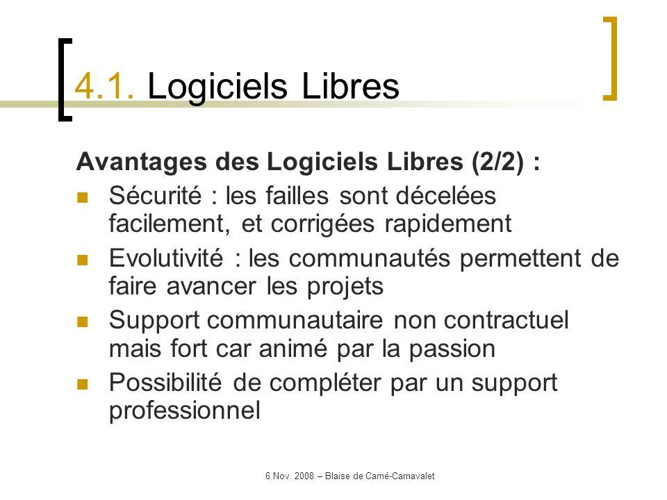 6 Nov. 2008 – Blaise de Carné-Carnavalet Avantages des Logiciels Libres (2/2) : Sécurité : les failles sont décelées facilement, et corrigées rapideme