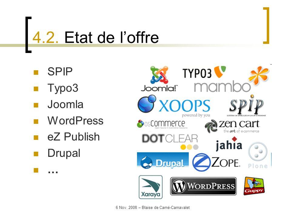 6 Nov. 2008 – Blaise de Carné-Carnavalet SPIP Typo3 Joomla WordPress eZ Publish Drupal … 4.2. Etat de loffre