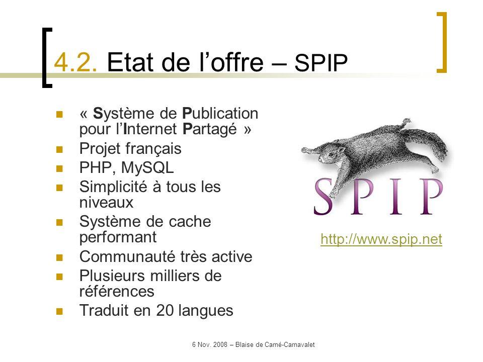6 Nov. 2008 – Blaise de Carné-Carnavalet « Système de Publication pour lInternet Partagé » Projet français PHP, MySQL Simplicité à tous les niveaux Sy