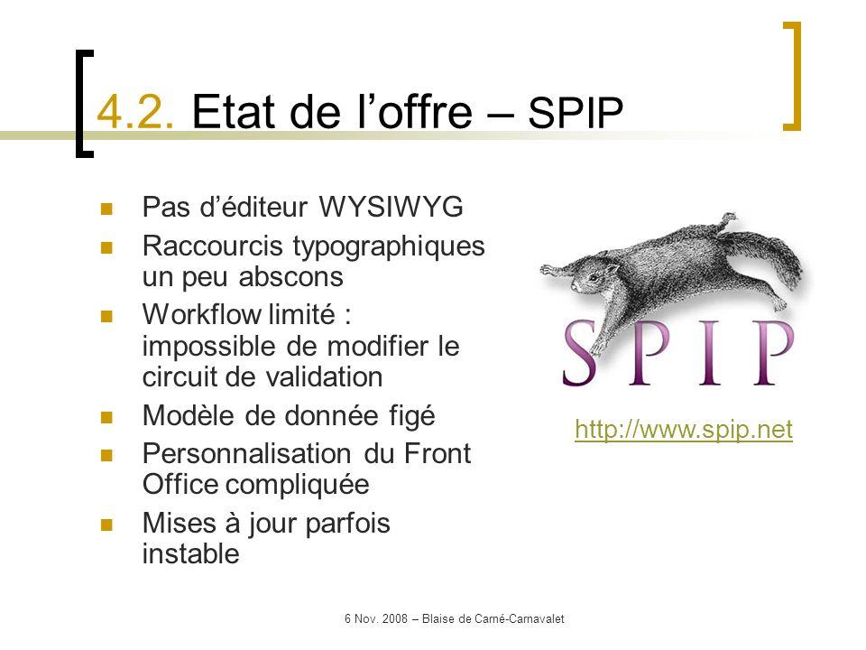 6 Nov. 2008 – Blaise de Carné-Carnavalet Pas déditeur WYSIWYG Raccourcis typographiques un peu abscons Workflow limité : impossible de modifier le cir