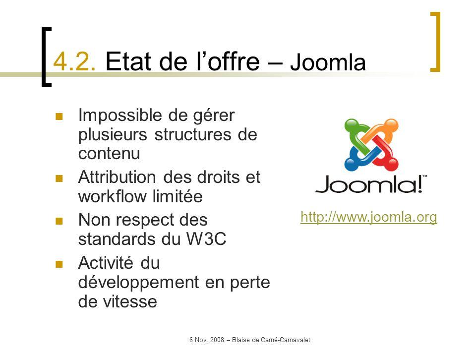 6 Nov. 2008 – Blaise de Carné-Carnavalet Impossible de gérer plusieurs structures de contenu Attribution des droits et workflow limitée Non respect de