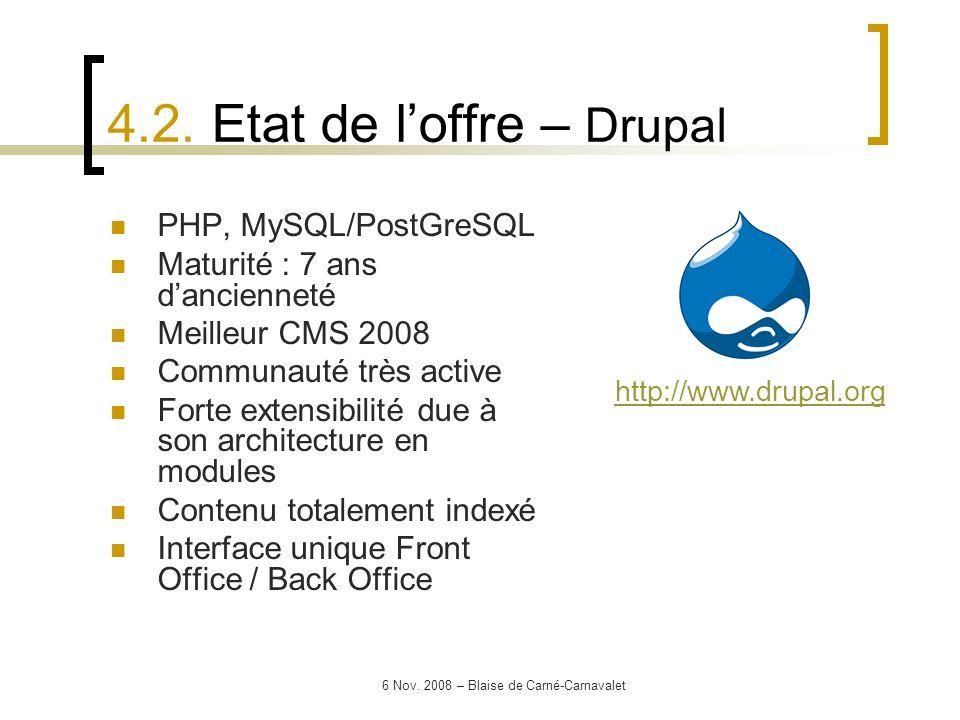 6 Nov. 2008 – Blaise de Carné-Carnavalet PHP, MySQL/PostGreSQL Maturité : 7 ans dancienneté Meilleur CMS 2008 Communauté très active Forte extensibili