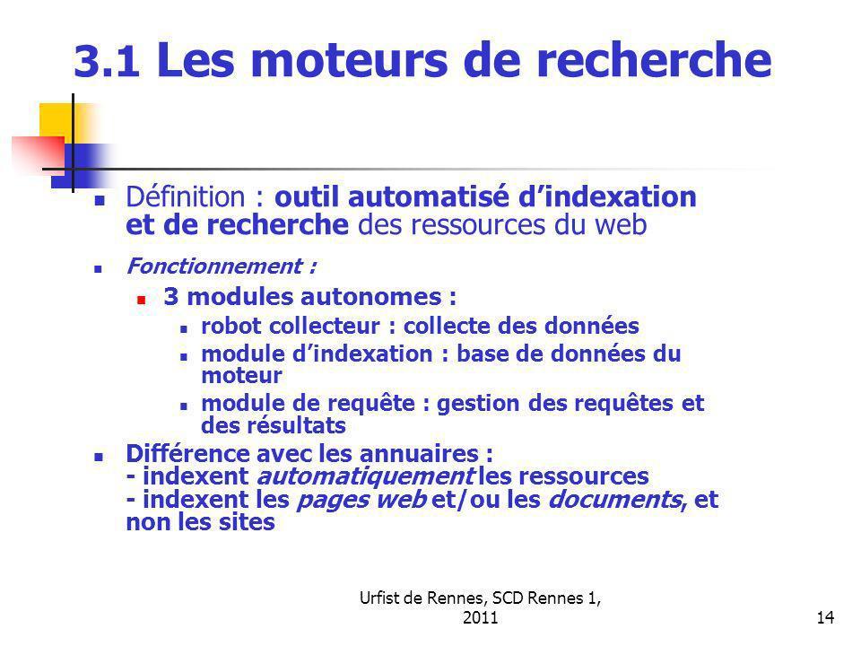 Urfist de Rennes, SCD Rennes 1, 201114 3.1 Les moteurs de recherche Définition : outil automatisé dindexation et de recherche des ressources du web Fonctionnement : 3 modules autonomes : robot collecteur : collecte des données module dindexation : base de données du moteur module de requête : gestion des requêtes et des résultats Différence avec les annuaires : - indexent automatiquement les ressources - indexent les pages web et/ou les documents, et non les sites