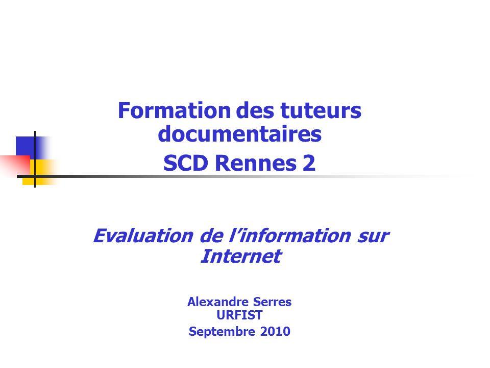 © A.Serres, URFIST Rennes, 20102 Présentation : URFIST .