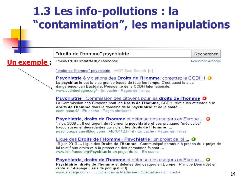 © A. Serres, URFIST Rennes, 201014 1.3 Les info-pollutions : la contamination, les manipulations Un exemple Un exemple :