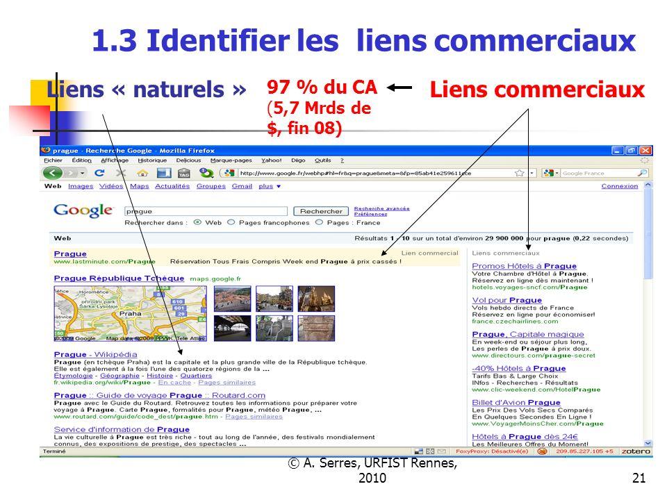 © A. Serres, URFIST Rennes, 201021 1.3 Identifier les liens commerciaux 97 % du CA (5,7 Mrds de $, fin 08) Liens « naturels »Liens commerciaux