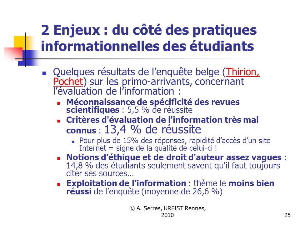 © A. Serres, URFIST Rennes, 201025 2 Enjeux : du côté des pratiques informationnelles des étudiants Quelques résultats de lenquête belge (Thirion, Poc