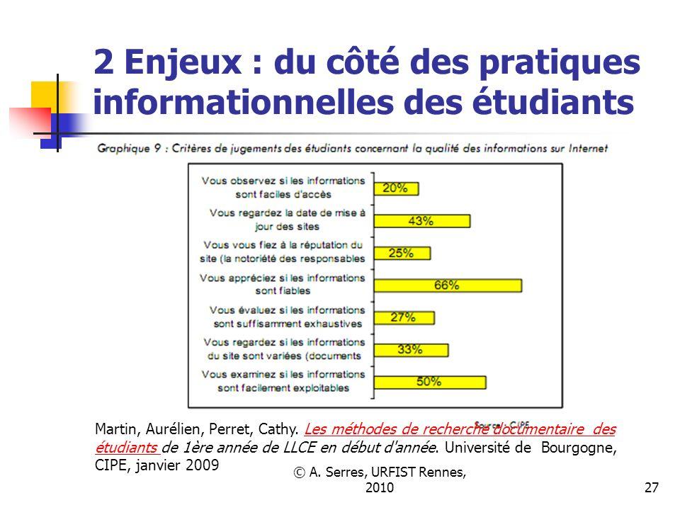 © A. Serres, URFIST Rennes, 201027 2 Enjeux : du côté des pratiques informationnelles des étudiants Martin, Aurélien, Perret, Cathy. Les méthodes de r