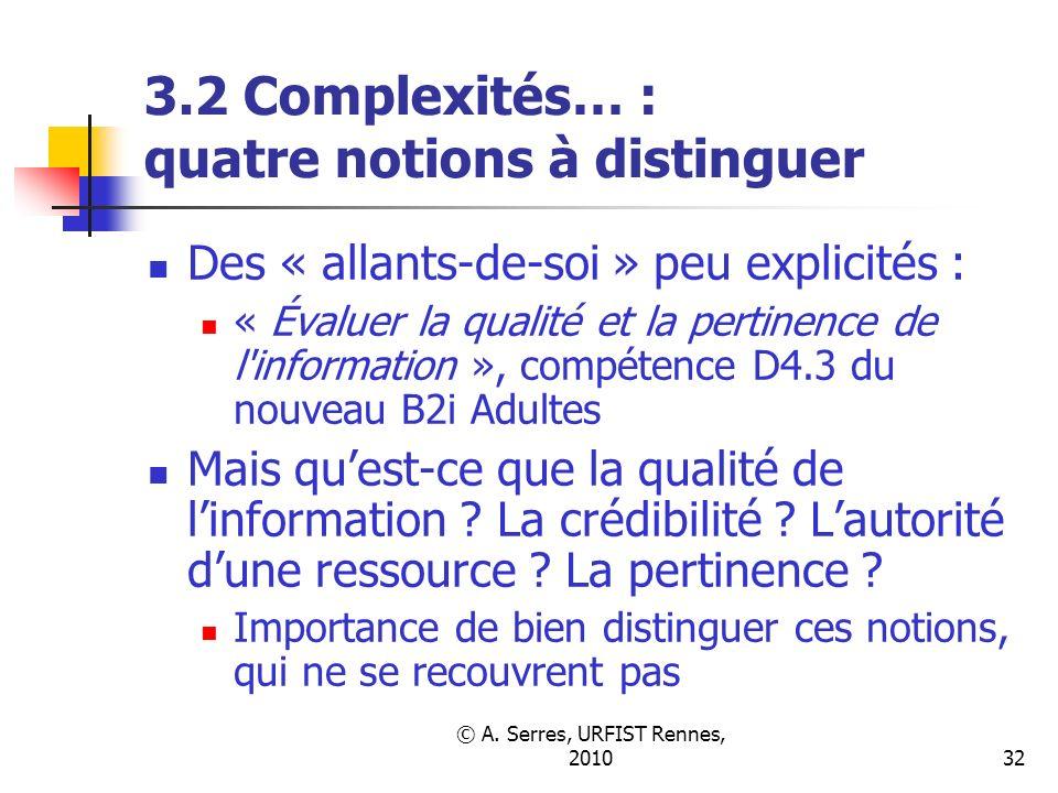 © A. Serres, URFIST Rennes, 201032 3.2 Complexités… : quatre notions à distinguer Des « allants-de-soi » peu explicités : « Évaluer la qualité et la p
