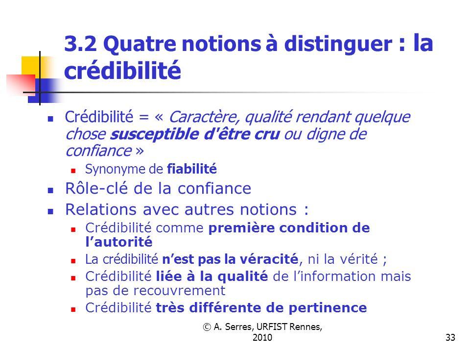 © A. Serres, URFIST Rennes, 201033 3.2 Quatre notions à distinguer : la crédibilité Crédibilité = « Caractère, qualité rendant quelque chose susceptib