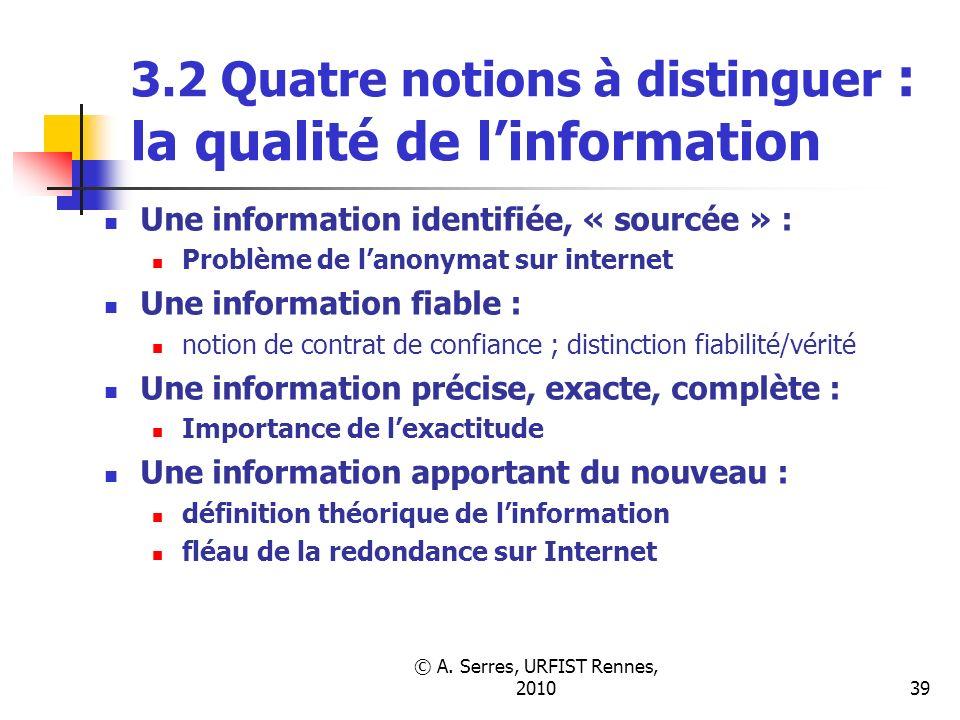 © A. Serres, URFIST Rennes, 201039 3.2 Quatre notions à distinguer : la qualité de linformation Une information identifiée, « sourcée » : Problème de