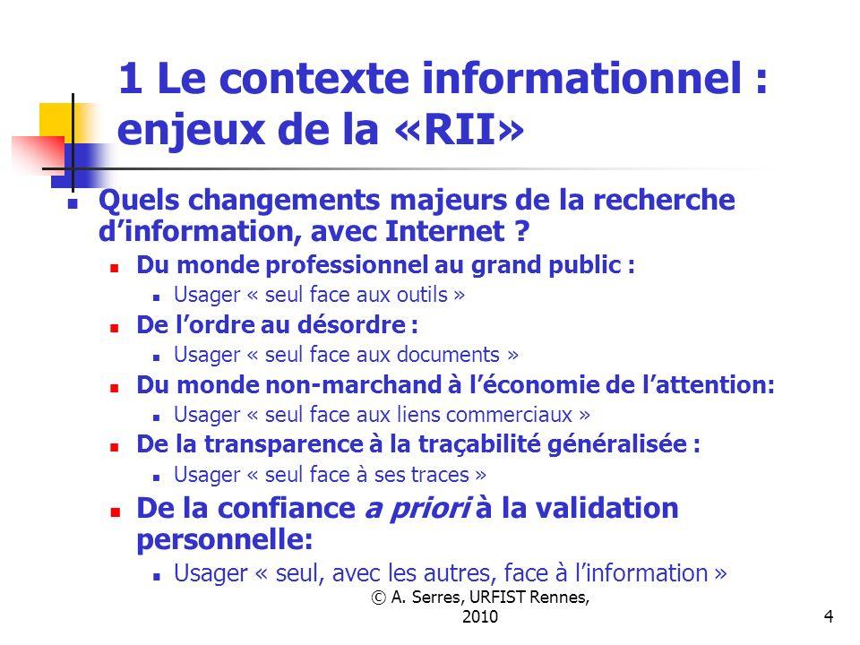 © A. Serres, URFIST Rennes, 20104 1 Le contexte informationnel : enjeux de la «RII» Quels changements majeurs de la recherche dinformation, avec Inter