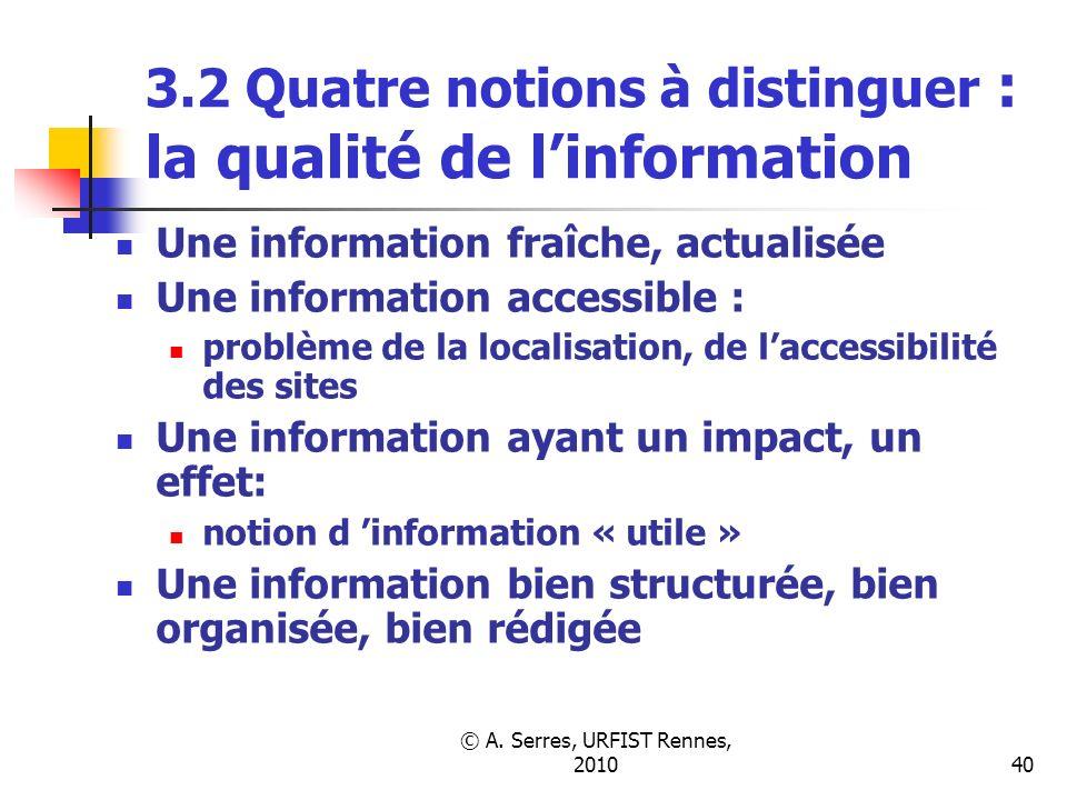 © A. Serres, URFIST Rennes, 201040 3.2 Quatre notions à distinguer : la qualité de linformation Une information fraîche, actualisée Une information ac