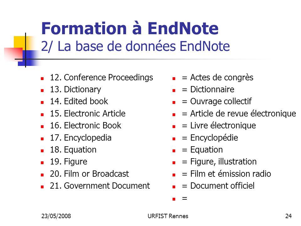 23/05/2008URFIST Rennes24 Formation à EndNote 2/ La base de données EndNote 12.