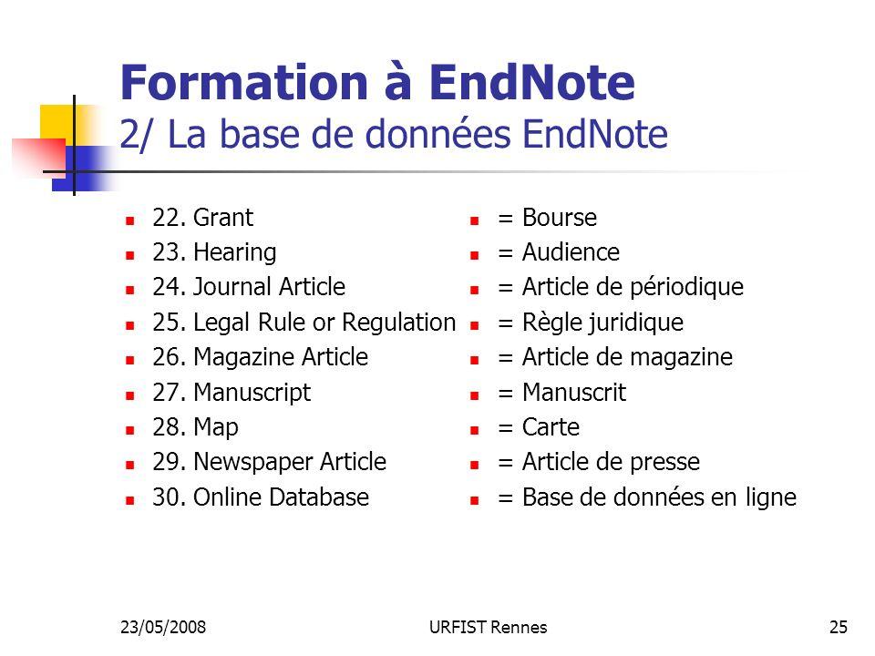 23/05/2008URFIST Rennes25 Formation à EndNote 2/ La base de données EndNote 22.
