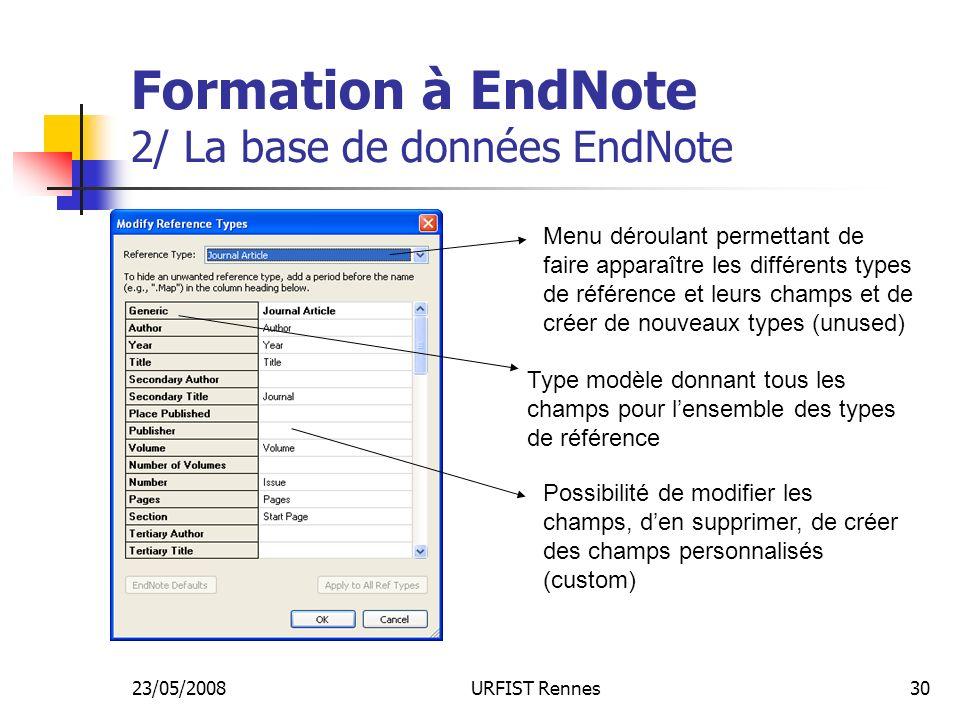 23/05/2008URFIST Rennes30 Formation à EndNote 2/ La base de données EndNote Menu déroulant permettant de faire apparaître les différents types de référence et leurs champs et de créer de nouveaux types (unused) Type modèle donnant tous les champs pour lensemble des types de référence Possibilité de modifier les champs, den supprimer, de créer des champs personnalisés (custom)