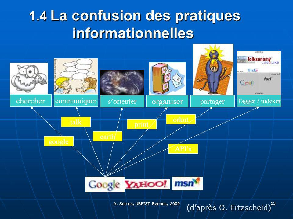 A. Serres, URFIST Rennes, 2009 13 1.4 La confusion des pratiques informationnelles 1.4 La confusion des pratiques informationnelles chercher communiqu