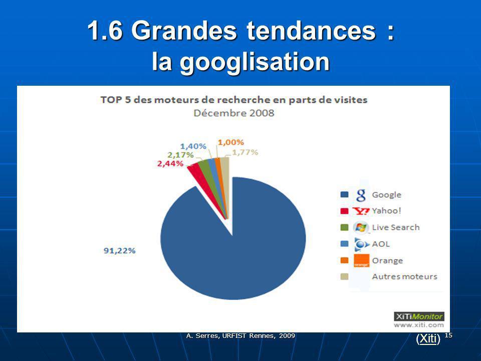 A. Serres, URFIST Rennes, 2009 15 1.6 Grandes tendances : la googlisation (Xiti)Xiti