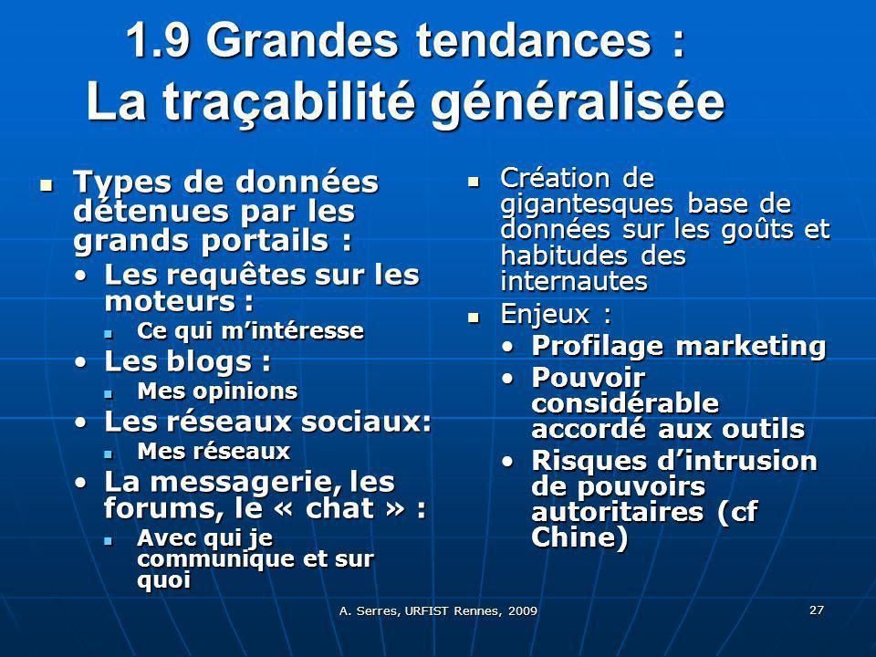 A. Serres, URFIST Rennes, 2009 27 1.9 Grandes tendances : La traçabilité généralisée Types de données détenues par les grands portails : Types de donn