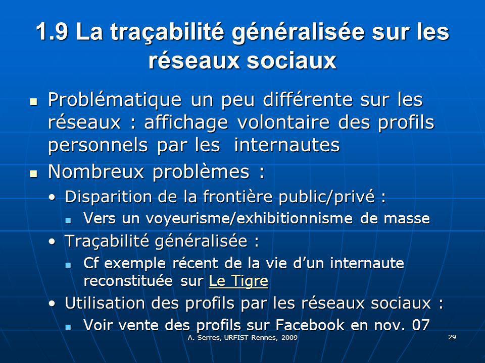 A. Serres, URFIST Rennes, 2009 29 1.9 La traçabilité généralisée sur les réseaux sociaux Problématique un peu différente sur les réseaux : affichage v