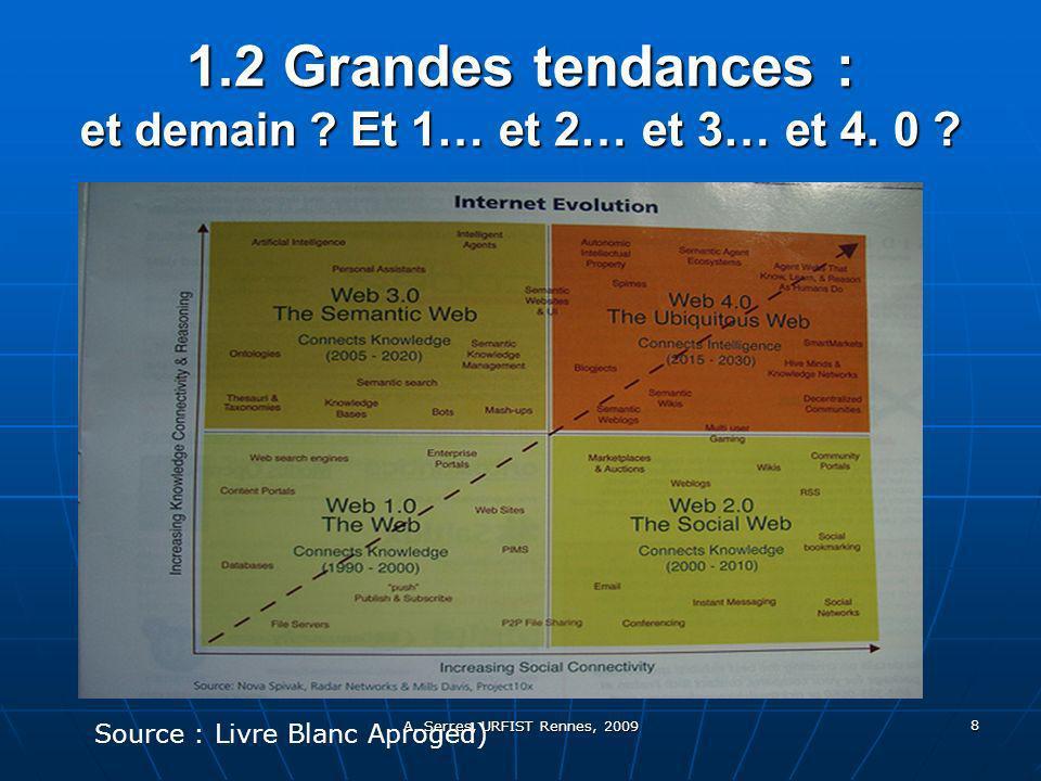 A. Serres, URFIST Rennes, 2009 8 1.2 Grandes tendances : et demain .